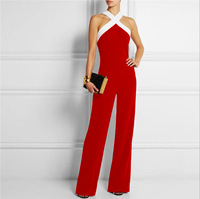 Women Sexy Cross Band Halter Rompers For Wome Red Black Blue Green Brown Patchwork Off Shoulder