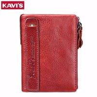 KAVIS Luxury Brand Genuine Leather Women Wallet Female Coin Purse Small Walet Portomonee Mini Magic Ladies