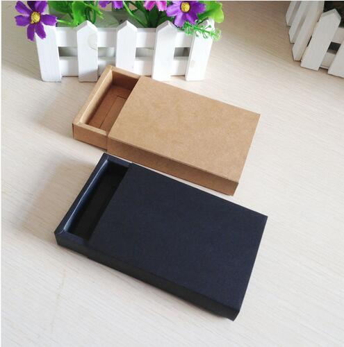 24pcs/lot Black And Kraft Craft Drawer Boxes For  Small Gift Box And Biscuits Handmade Soap Wedding Party Candy Packaging Boxes