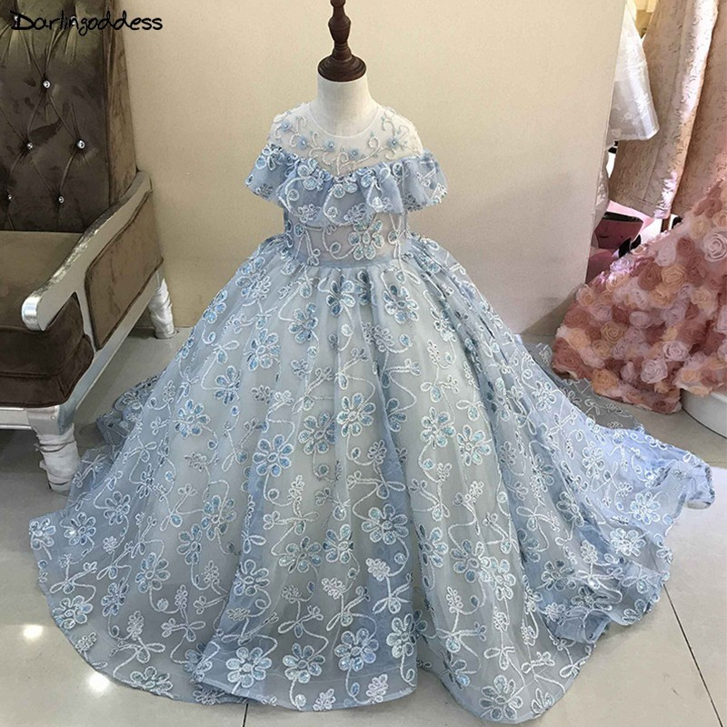 Luxury Lace Beaded   Flower     Girl     Dresses   for Weddings Ball Gown Kids Evening Gowns Light Blue First Communion   Dresses   2019
