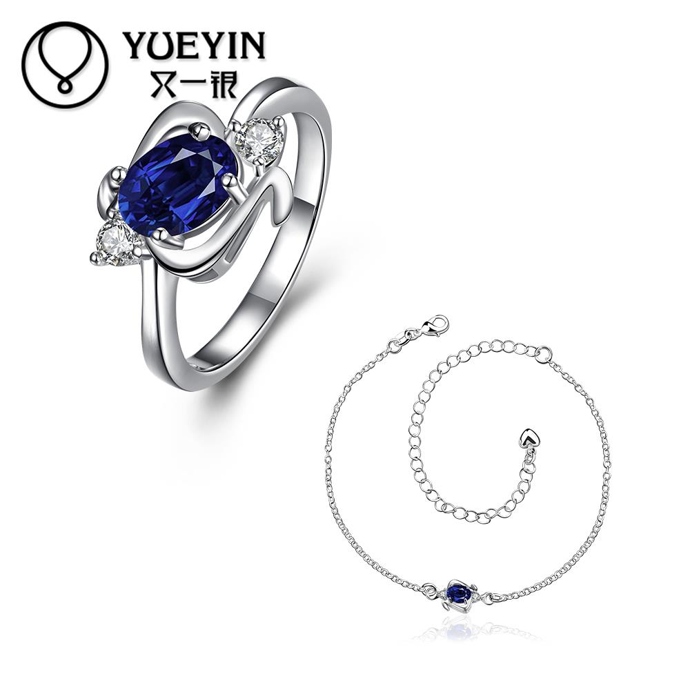 Jewelry-Sets Necklace Crystal-Fahion Silver-Plated Indian Blue CZ Women for Exquisite