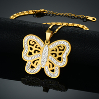 Indian Bridal Jewelry Sets Parure Bijoux Femme Punk Gold Plated Butterfly Necklace And Earrings Set Stainless