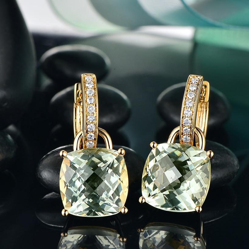 ceaecc1e0 Detail Feedback Questions about Caimao 10mm Green Amethyst Cushion 9.75ct  SI G H Diamond 14kt Yellow Gold Detachable Drop Earrings on Aliexpress.com  ...