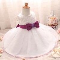 Newborn Baby Infant Dresses For Wedding With Waist Bow Belt Newborn Christening Gowns 1 Year Birthday