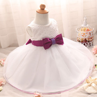 Newborn Baby Infant Dresses For Wedding With Waist Bow Belt Newborn Christening Gowns 1 Year Birthday