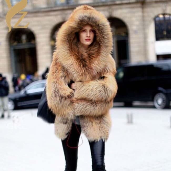 nat Kapuze Mantel Fox warme mit Trendy Style echte Pelzm Russland ntel rCxodeBW