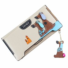 2017 Pockets Girls New Vogue Synthetic Leather-based Stitching Pet Canine Zipper Coin Purse Lengthy Pockets Card Holders Purse Carteira
