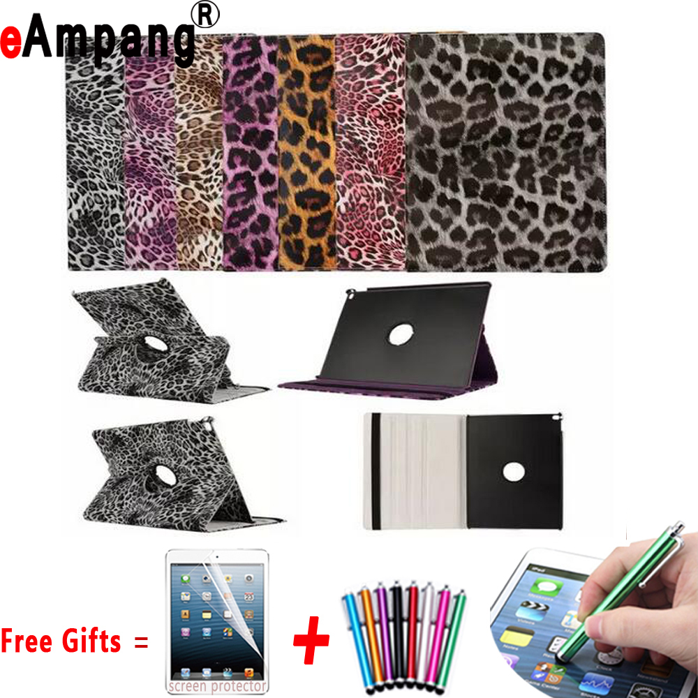 Leopard Smart Cover for iPad Air 2 Cases 9.7 inch 360 Degree Rotating PU Leather Protective Cover for iPad Air2 Case with Stand nice soft silicone back magnetic smart pu leather case for apple 2017 ipad air 1 cover new slim thin flip tpu protective case