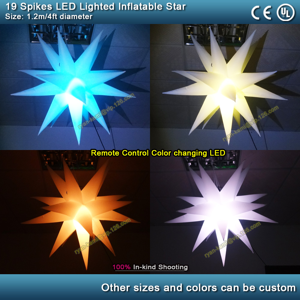 19 spikes LED lighted inflatable star party events bar club stage decoration inflatable star wedding balloon hanging up use