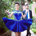 2016 New Pretty Girl's Blue Full Sleeve Appliques Ball Gown Short/Mini Dress Formal Gown robe de cocktail Dresses Custom Size