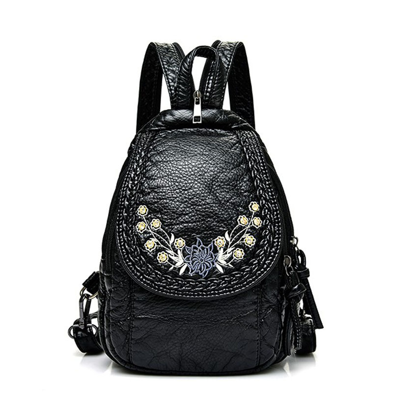 Embroidery Flowers Women Backpack Small Soft Pu Leather Backpacks For Girls Teenagers Female Shoulder Bag Chest Pack Black Bolsa