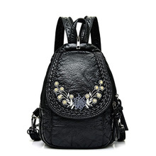 Embroidery Flowers Women Backpack Small Soft Pu Leather Backpacks For Girls Teen