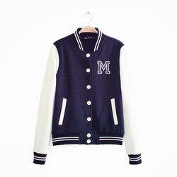 M logo klasyczne bombowiec kurtka damska kobiety płaszcz kobiet jesień sweter na co dzień zespół patchwork Baseball o-neck topy bolero 2019 5