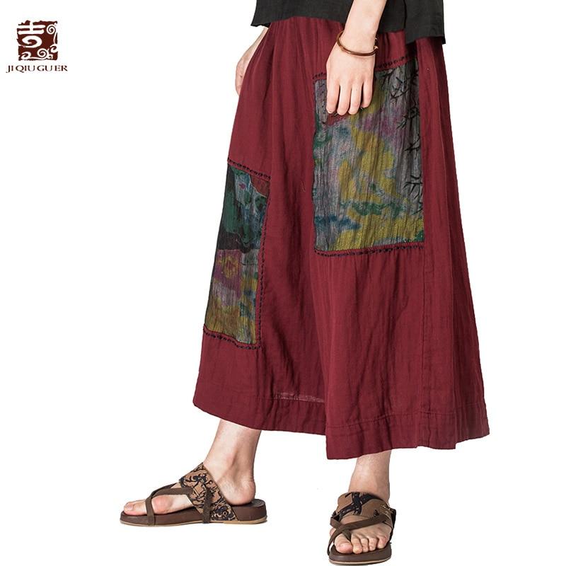 Jiqiuguer women elastic waist patchwork   wide     leg     pants   loose waist cotton   pants   ankle length summer trousers plus size G161K009