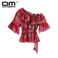 OMCHION Blusa Feminina 2018 Summer Floral Printed Chiffon Blouse Women Casual One Off Shoulder Top Bohemian Sashes Blouse LS382