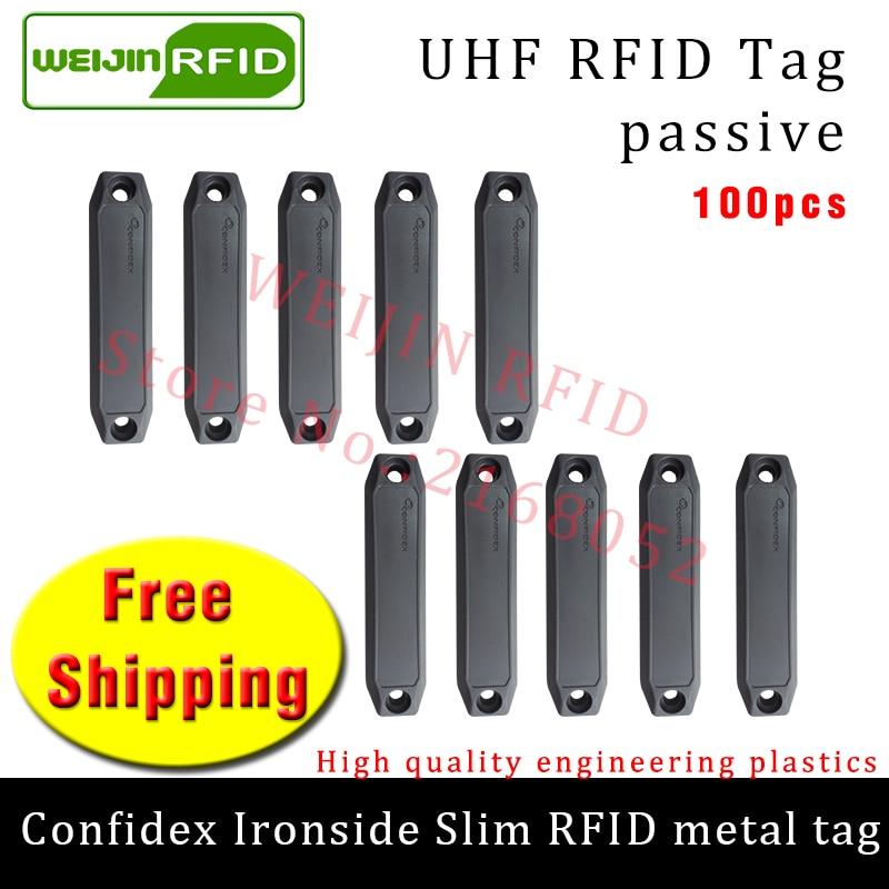 UHF RFID metal tag confidex ironside slim 915m 868m Impinj Monza4QT EPC 100pcs free shipping durable ABS smart passive RFID tags