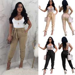 Для женщин Дамы Высокая Талия бинты карандаш брюки лето-осень на шнуровке ПР брюки длинные брюки