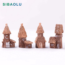 Countryside Cottage Model Woodeen House Miniature figurine simulation Landscape decoration fairy garden statue Home Gift