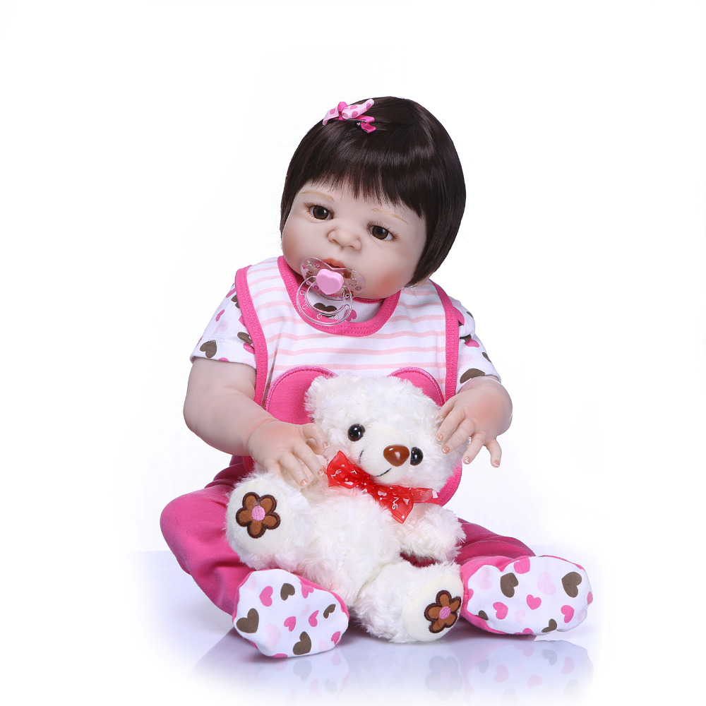 Nicery 22inch 55cm Bebe Reborn Doll Hard Silicone Boy Girl Toy Reborn Baby Doll Gift for Child Pink Bib White Bear Baby Doll nicery 22inch 55cm bebe reborn doll hard silicone boy girl toy reborn baby doll gift for children purple princess hat baby doll