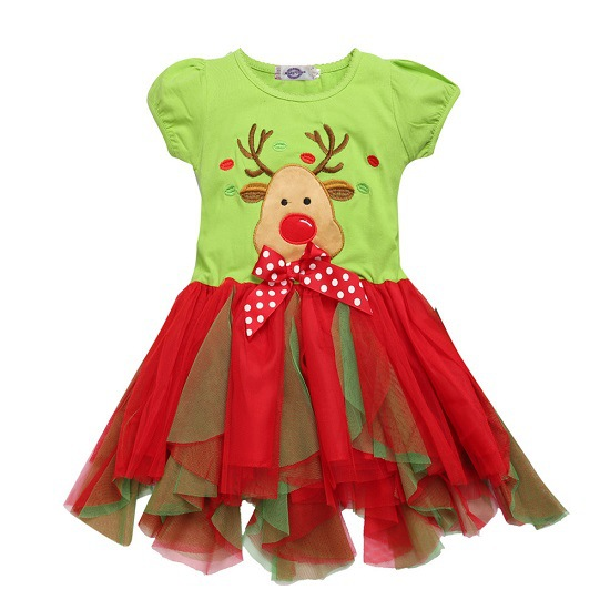 Reindeer Green Girls Dress Christmas Clothing Baby Girl