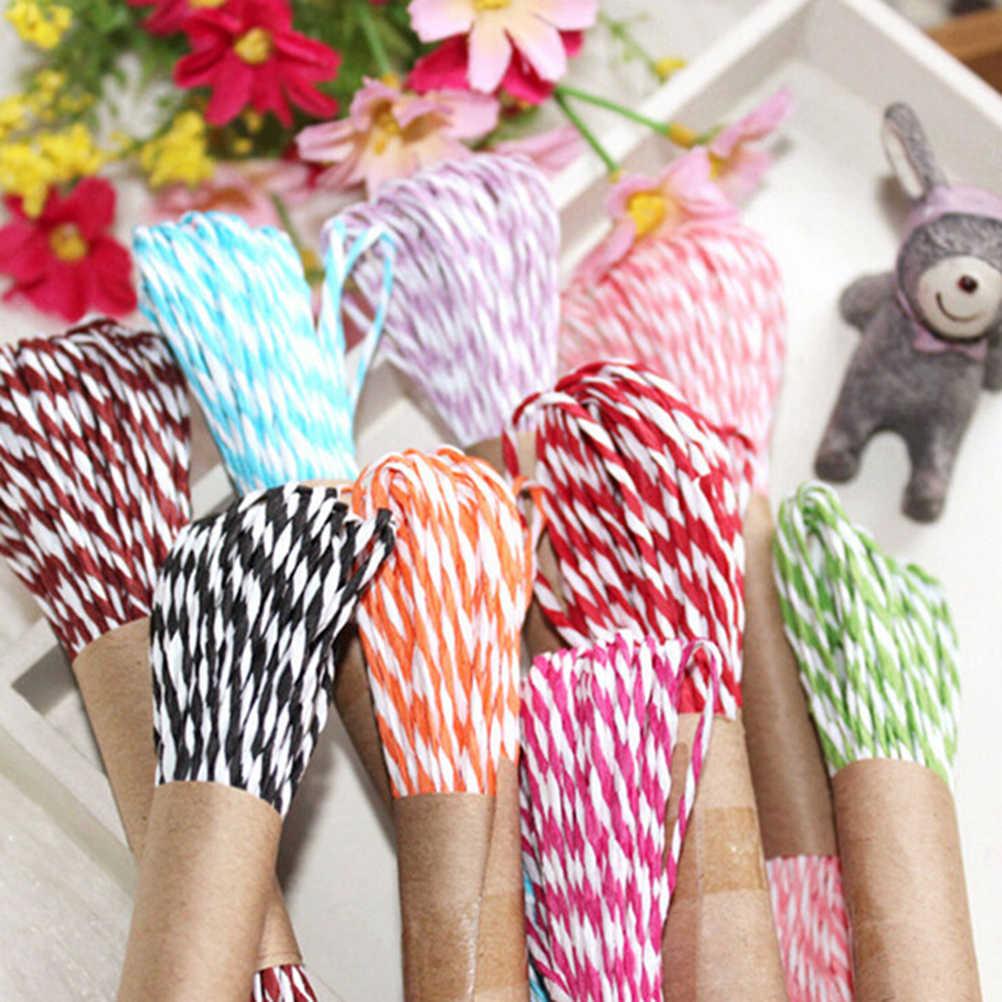 11 colores 10M 2mm DIY Twisted rafia de papel Craft Favor envoltura de regalos hilo cuerda scrapbook invitación flor Decoración