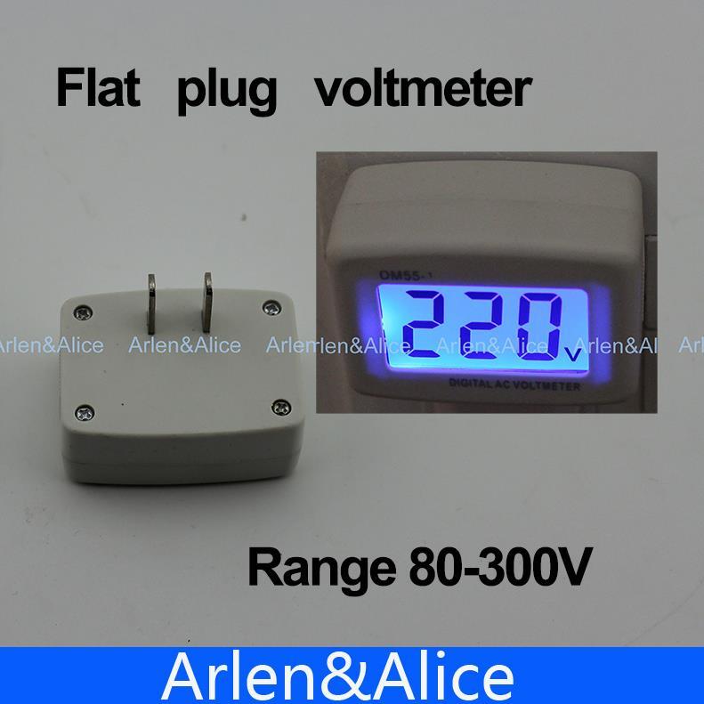 US Flat Plug LCD AC Digital Voltage meter Voltmeter 80-300V Switch Volt Power Monitor AC Panle Meter blue backlight