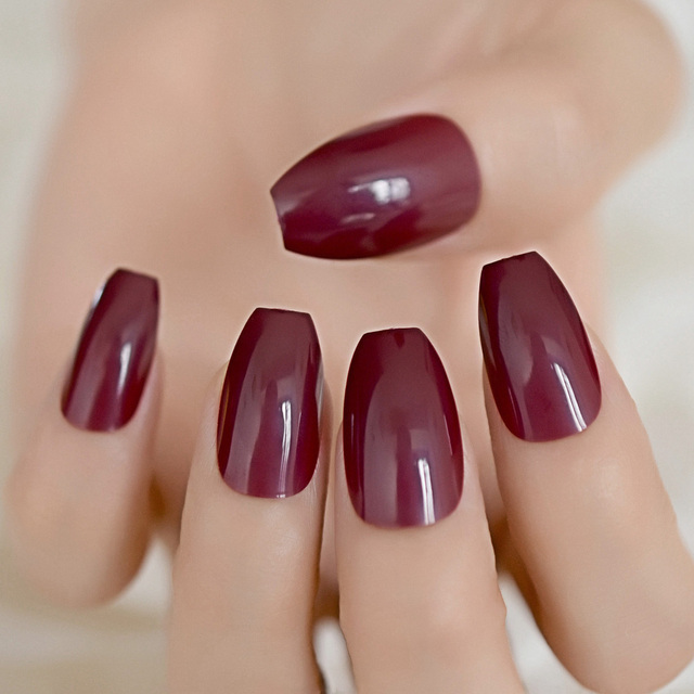 Candy Dark Wine Red Coffin False Nails Ballerina Coffins Chestnut Maroon Color Full Cover Fake Nail