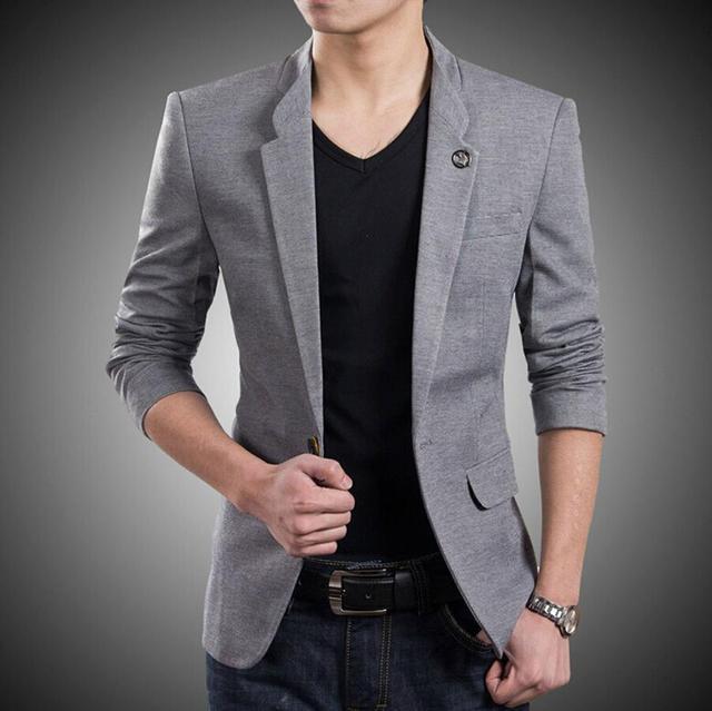 Блейзер Новый стиль на заказ One Button Пиджак Корейский Стиль высокое Качество Slim Fit Куртки Мужские формальный повод человек куртка