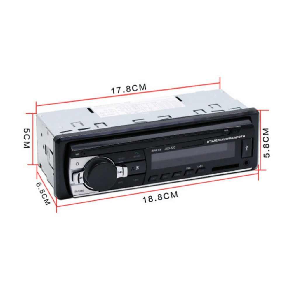 Bluetooth V2.0 JSD-520 Stereo Autoradio Radio samochodowe 12V w desce rozdzielczej 1 Din FM Aux odbiornik wejściowy SD USB MP3 MMC WMA odtwarzacz audio JSD520