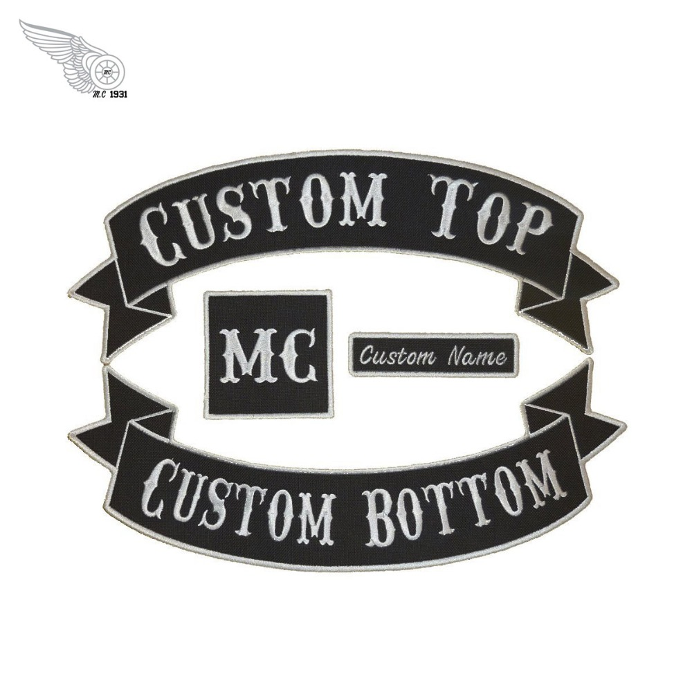 Custom 4pc patch set motorcycle stickers for jacket 2 rocker embroidery custom shirt decoration