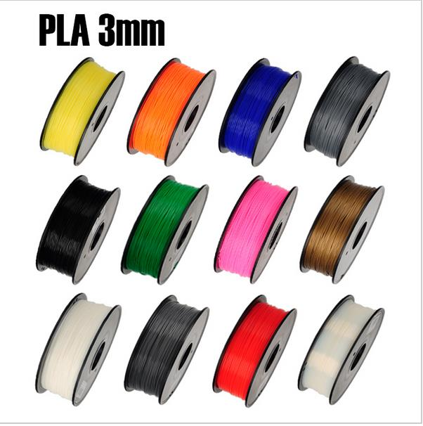 PLA 3mm 1Kg/spool Plastic Rod Rubber Ribbon Consumables Material Refills for MakerBot/RepRap/UP/ 3D Printer FilamentsColofwl
