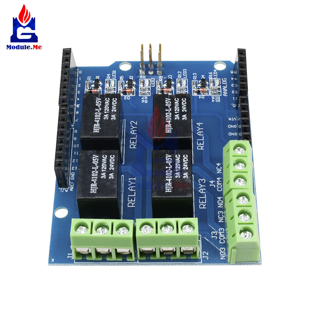 Relay Shield Interface 5V 4 Four Channel Module For Arduino Signal Control Power Expansion Drive Board DC 3.3v 5v Red  Indicator 7