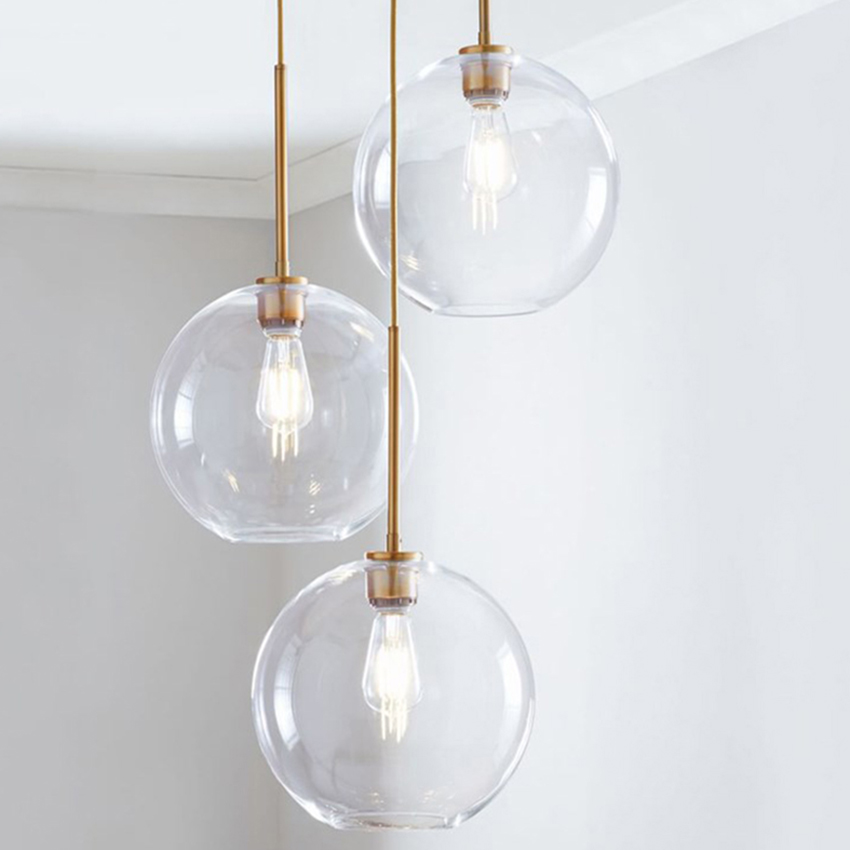 Modern Glass Pendant Lamp  Blue Amber Brown Glass Ball Creative Hanging Lights For Dining Room Kitchen Bedroom Lighting Fixture