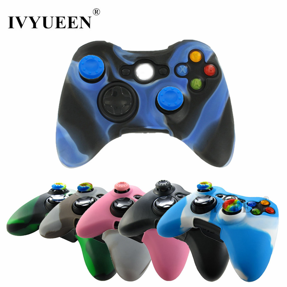 IVYUEEN Soft Silicone Protective Skin Case Cover for Microsoft Xbox 360 Wireless / Wired Controller + Thumb Sticks Caps Grips стоимость