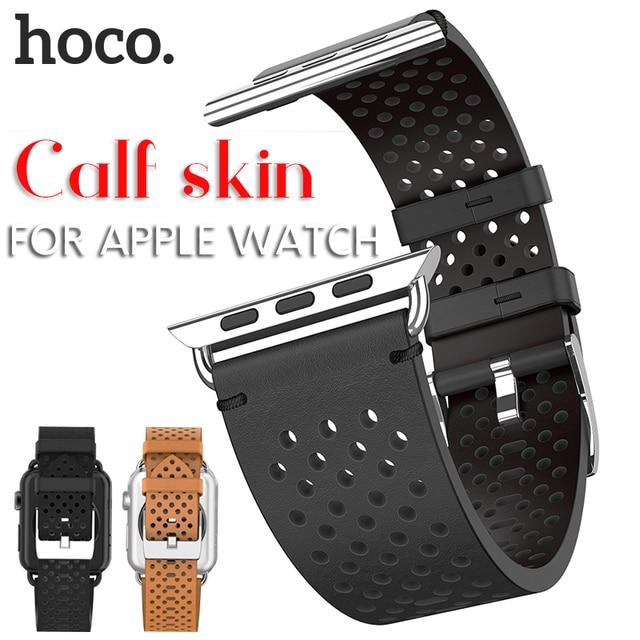 HOCO Correa de cuero genuino para Apple Watch, banda de reloj transpirable para Apple Watch Series 4 3 2 1, correa de reloj para iWatch de 44mm, 42mm, 40mm y 38mm