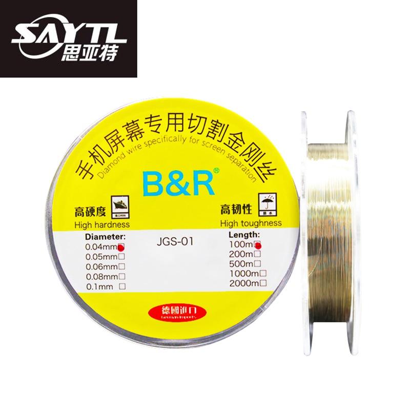 SAYTL 0,04 0,05 0,06 0,08 0,1 мм разделительная линия ЖК-экрана Алмазная Проволока Инструменты для ремонта мобильных телефонов