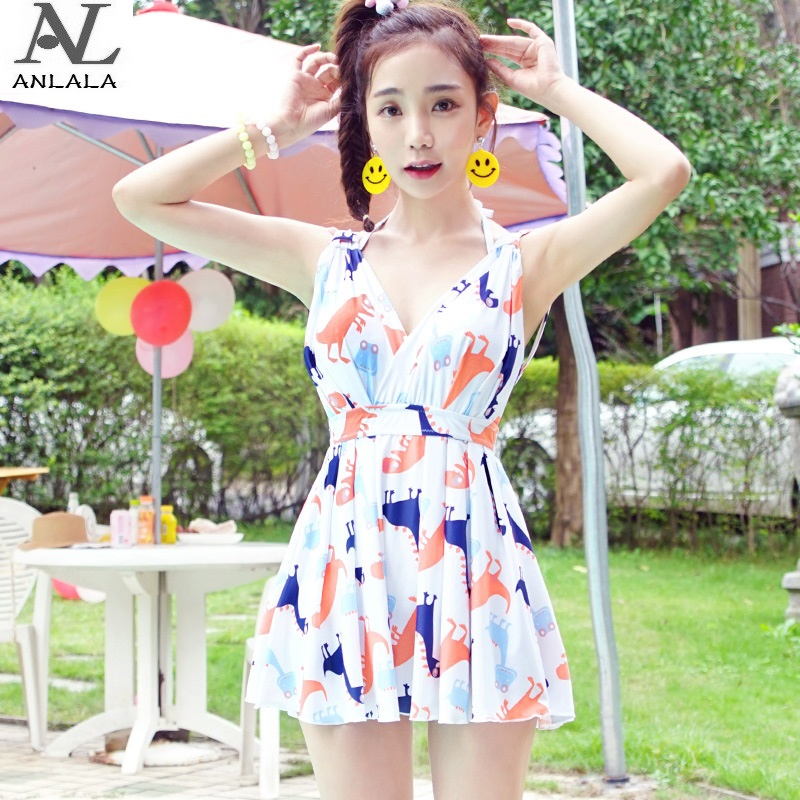 ANLALA Small chest gather Was thin Conservative Skirt style Flat angle one-piece swimsuit anlala 2016 new swimsuit female siamese boxer skirt plus fertilizer xl cover the belly was thin steel prop gather small chest