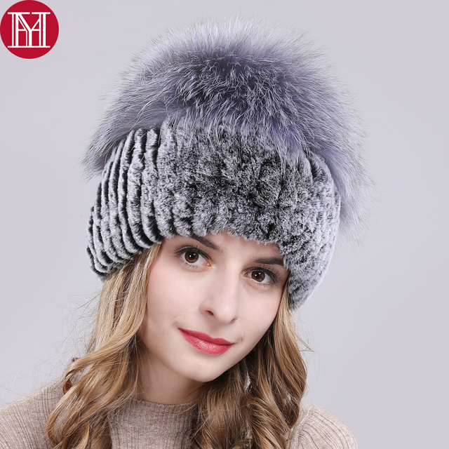 Outdoor Women Warm Soft Genuine Rex Rabbit Fur Hat Knitted Natural Real Sliver Fox Fur Caps Winter Real Rabbit Fur Beanies Hats