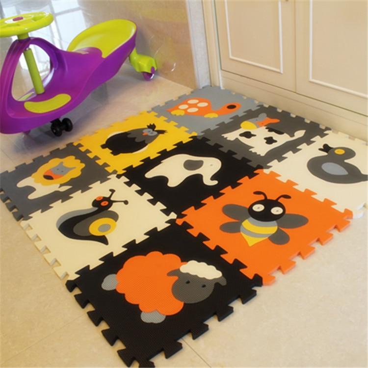 Meiqicool 9pcs Set Baby Play Mat Cartoon Eva Foam Puzzle