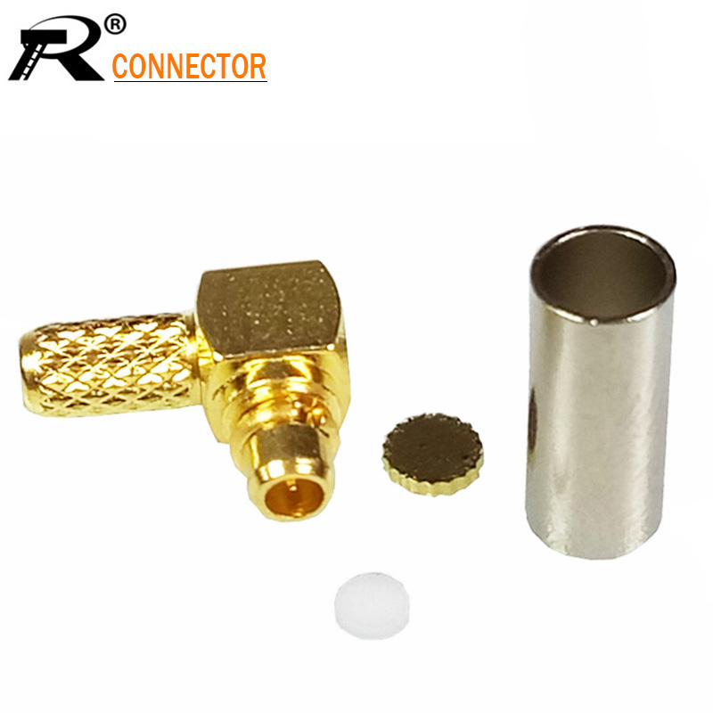 100pcs MMCX Male Plug Right Angle Connector Gold Plated 90 Degree MMCX RF Cable Adapter for