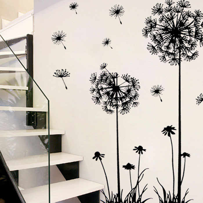 Black Creative PVC Dandelion Flower Plant Tree Large Removable Home Wall Decal For Bedroom Living Room Decorative