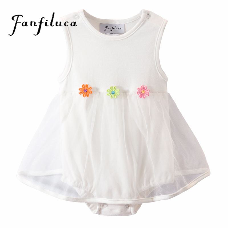 0151b433c8b4 Fanfiluca Three Flower Baby Girl Dress Cotton Soft Lace Newborn Body ...