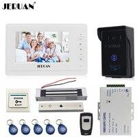 JERUAN 7 ''ЖК дисплей телефон видео домофон видеодомофон комплект 1 белый монитор Водонепроницаемый доступа RFID Камера 180 кг магнитный замок