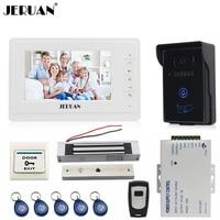 JERUAN 7 '' LCD chuông cửa intercom video intercom kit 1 trắng monitor waterproof RFID Access Máy Ảnh 180 KG khóa t