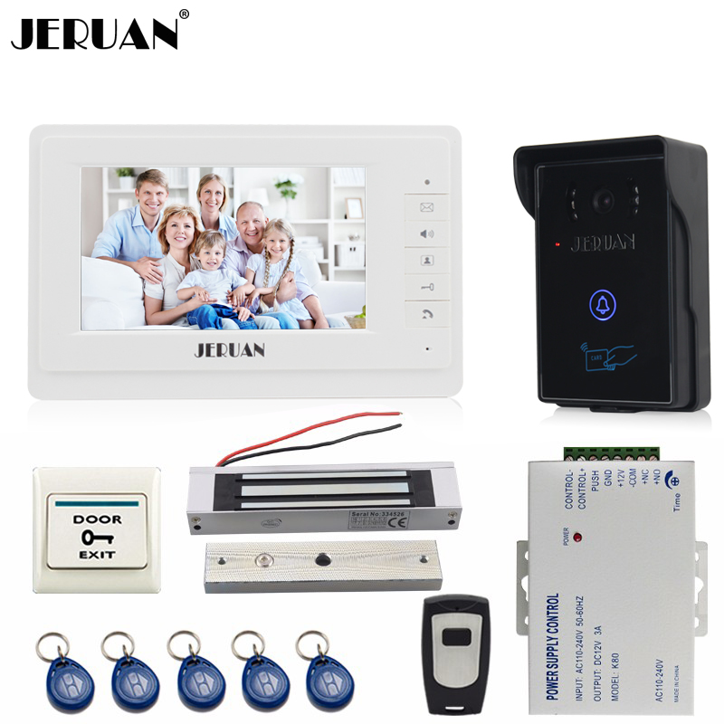 JERUAN 7`` LCD video door phone intercom video intercom kit 1 white monitor waterproof RFID Access Camera 180KG Magnetic lock