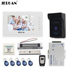 """JERUAN 7 """"LCD monitor de vídeo teléfono de puerta de intercomunicación de vídeo intercom kit 1 blanco Cámara de Acceso RFID a prueba de agua 180 KG cerradura magnética"""