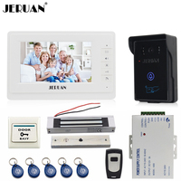 JERUAN 7 LCD Video Door Phone Intercom Video Intercom Kit 1 White Monitor Waterproof RFID Access