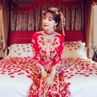 Star Same Style Red Embroidery Chinese Bride Marry Dragon Costume Cheongsam Wedding Dress Qipao Party Dresses Robe Chinoise