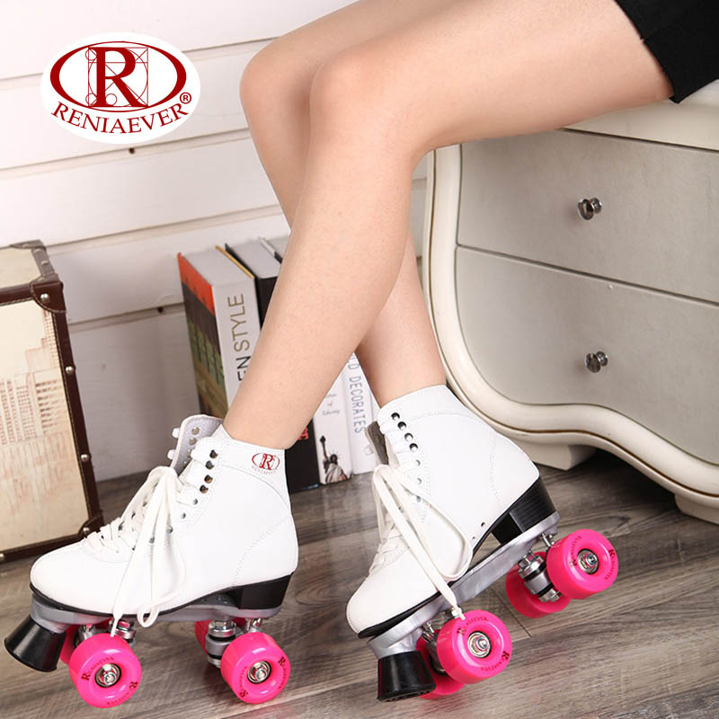 RENIAEVER Roller Skates Double Line Skates White Women Female Lady Adult With Pink PU 4 Wheels Two line Skating Shoes Patines reniaever double roller skates skating shoe gift girls black wheels roller shoe figure skates white free shipping