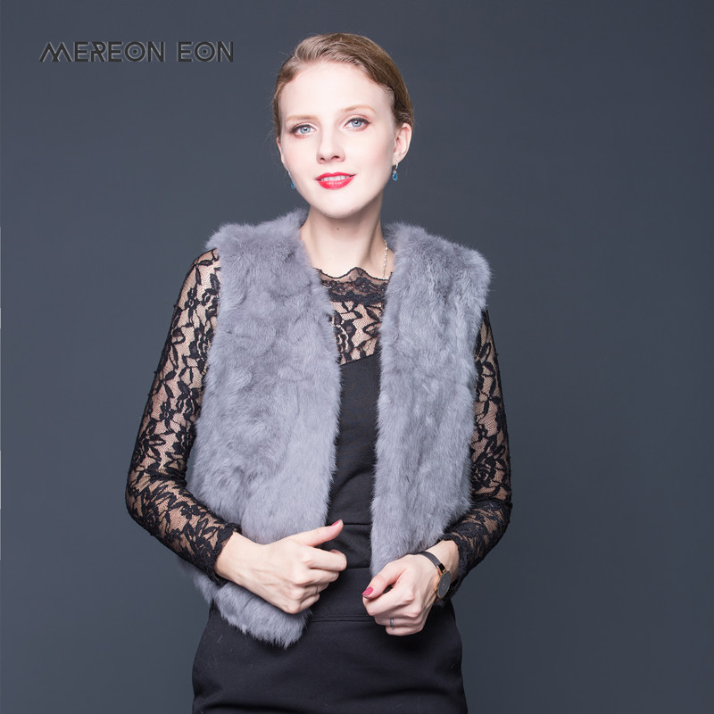 Genuine Rabbit Fur Vest Women Winter Real Fur Coat Sleeveless Girls Short Fur Vest Warm Natural Full Pelt Rabbit Fur Waistcoat